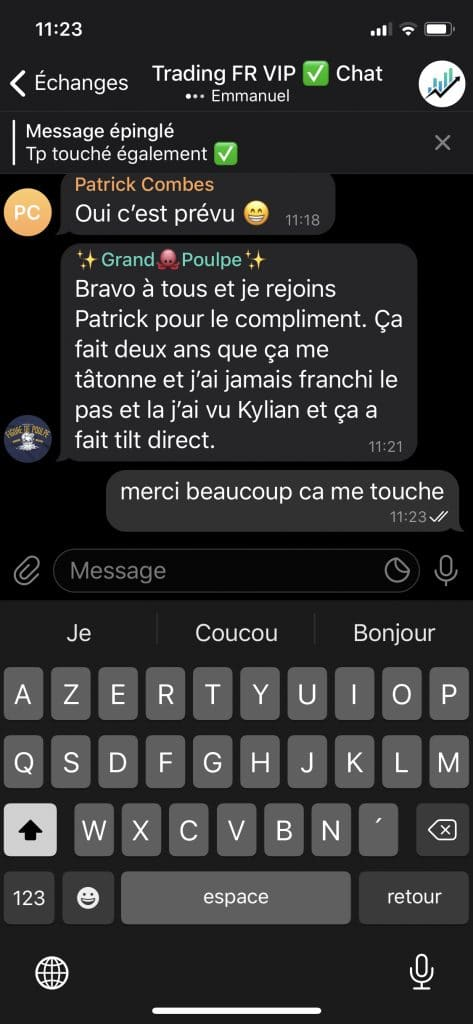 kylian marlier avis témoignage canal telegram 3 gagner en bourse