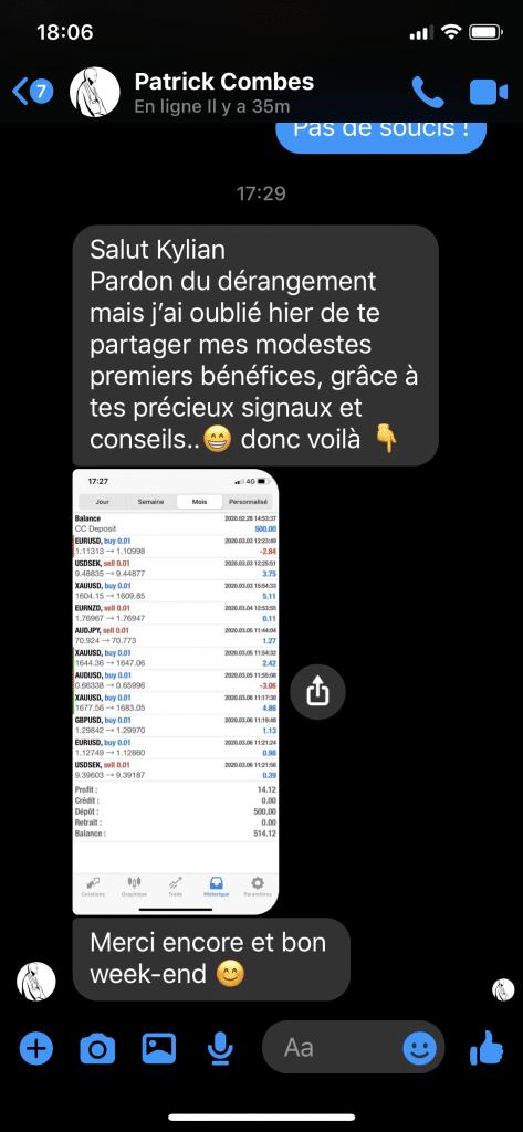 Kylian Marlier avis Témoignages Frédéric