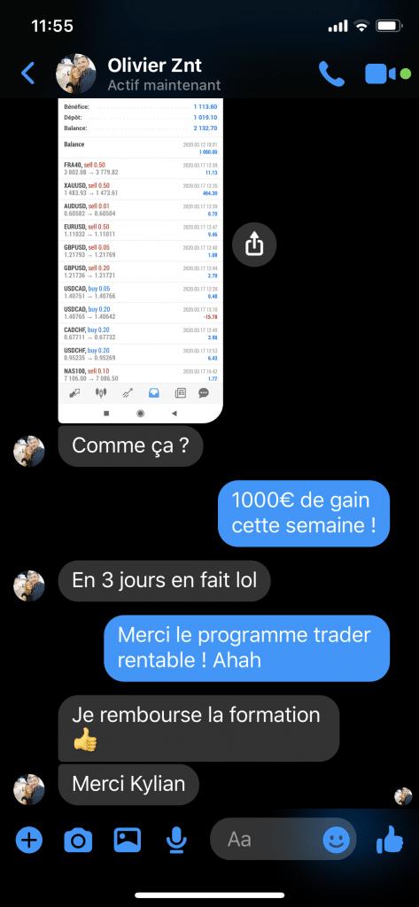 Témoignage Olivier programme trader rentable