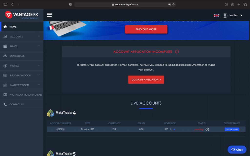 Espace client Vantage Fx