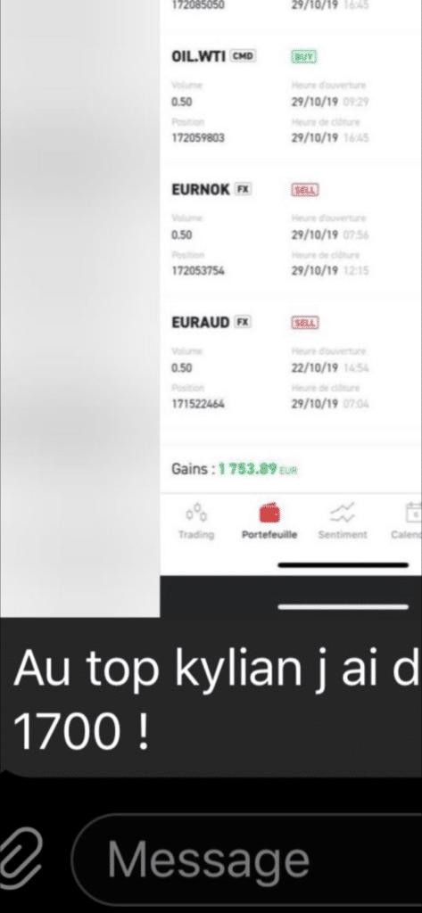 Kylian marlier avis témoignage 1700 euros de gains